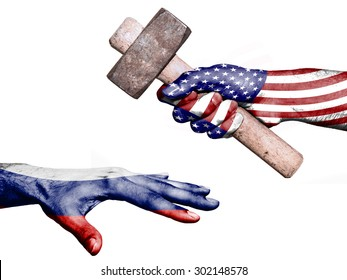 Flag of United States overprinted on a hand holding a heavy hammer hitting a hand representing the Russia. Conceptual image for political, fiscal or social aggressions, penalties, taxation