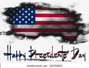 Flag of United States painted with brush on solid background, USA President Day