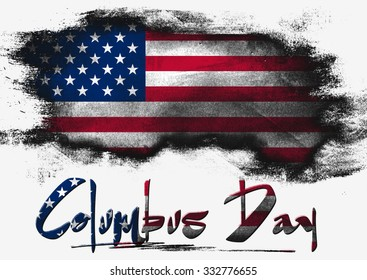 Flag of United States painted with brush on solid background, USA Columbus Day