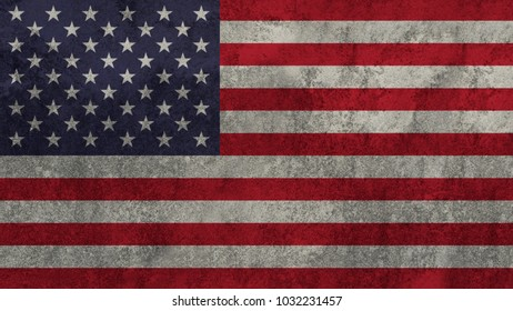 flag of United States painted on the wall.