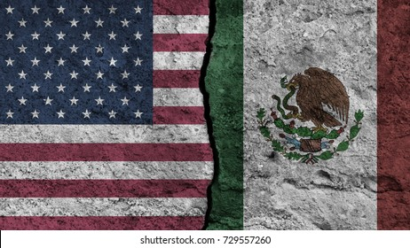flag of United states and painted on wall divided with crack , USA vs Mexico , conflict relations , war concept