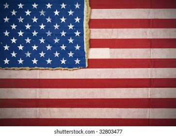 Flag of United States, USA made with corrugated cardboard