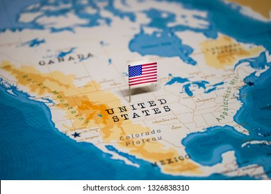 the Flag of United States, USA, US in the world map