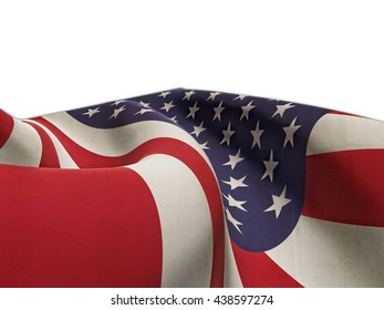 Flag of the United States vintage effect, carefully folded on a white background-3d rendering