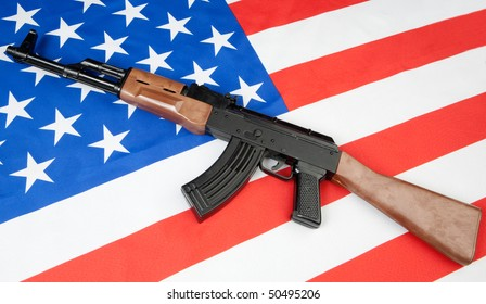 Flag of the United States with a weapon on it