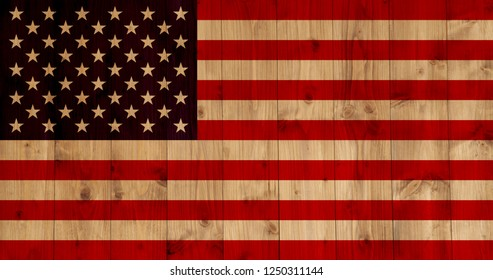 flag of the U.S. on wooden texture