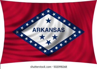 Flag of the US state of Arkansas. American patriotic element. USA banner. Arkansan official flag waving, isolated on white, illustration