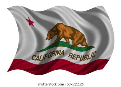 Flag of the US state of California. American patriotic element. USA banner. United States of America symbol. Californian official flag real detailed fabric texture wavy isolated on white, illustration