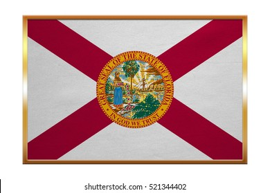 Flag of the US state of Florida. American patriotic element. USA banner. United States of America symbol. Floridian official flag, golden frame, fabric texture, illustration. Accurate size, colors