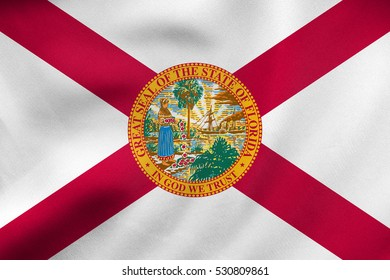 Flag of the US state of Florida. American patriotic element. USA banner. United States of America symbol. Floridian official flag waving in the wind, real detailed fabric texture. 3D illustration