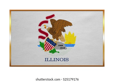 Flag of the US state of Illinois. American patriotic element. USA banner. United States of America symbol. Illinoisan official flag , golden frame, fabric texture, illustration. Accurate size, colors