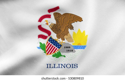 Flag of the US state of Illinois. American patriotic element. USA banner. United States of America symbol. Illinoisan official flag waving in the wind, real detailed fabric texture. 3D illustration