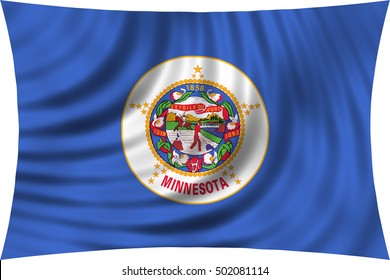 Flag of the US state of Minnesota. American patriotic element. USA banner. United States of America symbol. Minnesotan official flag waving, isolated on white, illustration