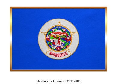 Flag of the US state of Minnesota. American patriotic element. USA banner. United States of America symbol. Minnesotan official flag, golden frame, fabric texture, illustration. Accurate size, colors