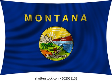 Flag of the US state of Montana. American patriotic element. USA banner. United States of America symbol. Montanan official flag waving, isolated on white, illustration