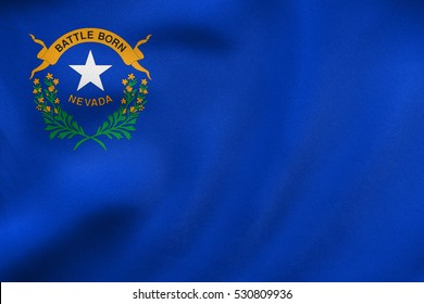 Flag of the US state of Nevada. American patriotic element. USA banner. United States of America symbol. Nevadan official flag waving in the wind, real detailed fabric texture. 3D illustration