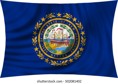 Flag of the US state of New Hampshire. American patriotic element. USA banner. United States of America symbol. New Hampshirite official flag waving, isolated on white, illustration