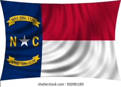 Flag of the US state of North Carolina. American patriotic element. USA banner. United States of America symbol. North Carolinian official flag waving, isolated on white, illustration