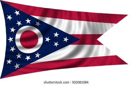 Flag of the US state of Ohio. American patriotic element. USA banner. United States of America symbol. Ohioan official flag waving, isolated on white, illustration