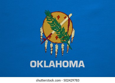 Flag of the US state of Oklahoma. American patriotic element. USA banner. United States of America symbol. Oklahoman official flag with real detailed fabric texture, illustration. Accurate size, color
