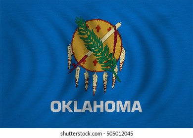 Flag of the US state of Oklahoma. American patriotic element. USA banner. United States of America symbol. Oklahoman official flag wavy real detailed fabric texture, illustration. Accurate size, color