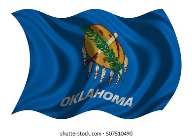 Flag of the US state of Oklahoma. American patriotic element. USA banner. United States of America symbol. Oklahoman official flag with real detailed fabric texture wavy isolated on white illustration