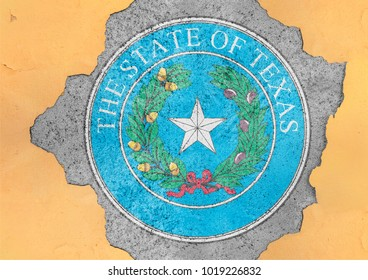 Flag of US state Texas seal in big broken material concrete hole facade structure