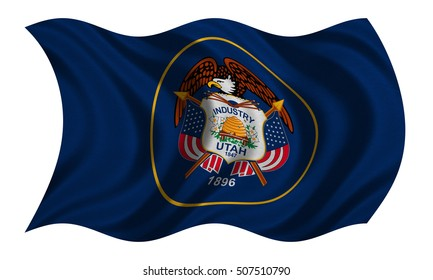 Flag of the US state of Utah. American patriotic element. USA banner. United States of America symbol. Utahn official flag with real detailed fabric texture wavy isolated on white, illustration