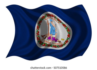 Flag of the US state of Virginia. American patriotic element. USA banner. United States of America symbol. Virginian official flag with real detailed fabric texture wavy isolated on white illustration