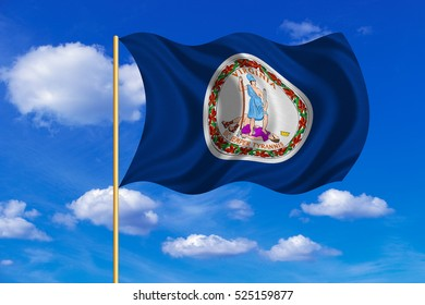 Flag of the US state of Virginia. American patriotic element. USA banner. United States of America symbol. Virginian official flag on flagpole waving in the wind, blue sky background. Fabric texture