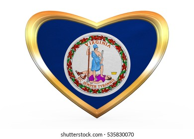 Flag of the US state of Virginia. American patriotic element. USA banner. United States of America symbol. Virginian official flag in heart shape on white. Golden frame, fabric texture 3D illustration