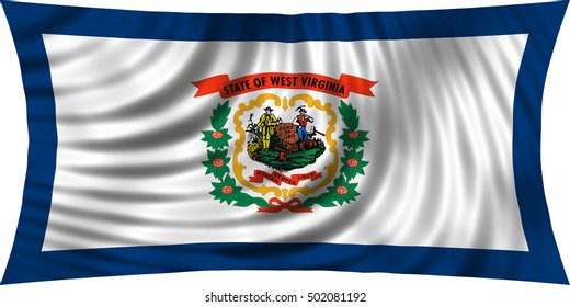 Flag of the US state of West Virginia. American patriotic element. USA banner. United States of America symbol. West Virginian official flag waving, isolated on white, illustration