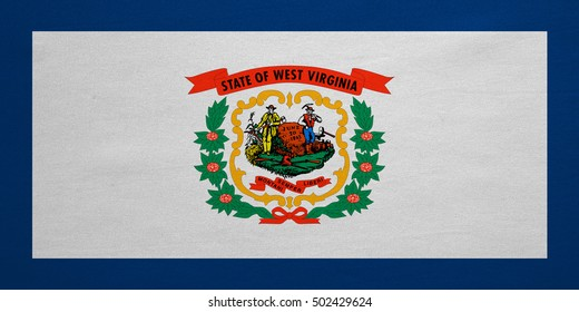 Flag of the US state of West Virginia. American patriotic element. USA banner. United States of America symbol. West Virginian official flag detailed fabric texture, illustration. Accurate size, color
