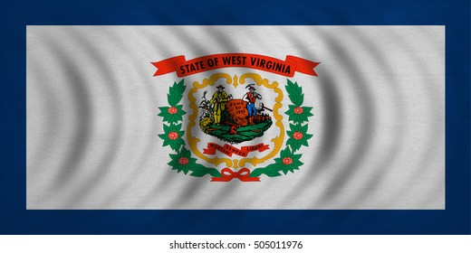 Flag of the US state of West Virginia. American patriotic element. USA banner. United States of America symbol. West Virginian official flag wavy real fabric texture, illustration. Accurate size color