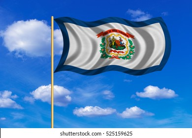 Flag of the US state of West Virginia. American patriotic element. USA banner. United States of America symbol. West Virginian flag on flagpole waving in the wind, blue sky background. Fabric texture