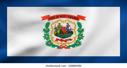 Flag of the US state of West Virginia. American patriotic element. USA banner. United States of America symbol. West Virginian official flag waving in wind, detailed fabric texture. 3D illustration
