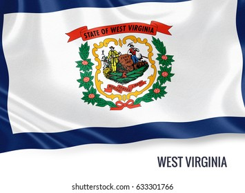 Flag of U.S. state West Virginia waving on an isolated white background. State name is included below the flag. 3D rendering.