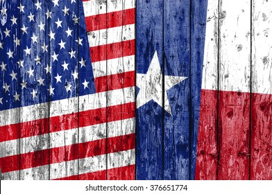 Flag of US and Texas painted on wooden frame