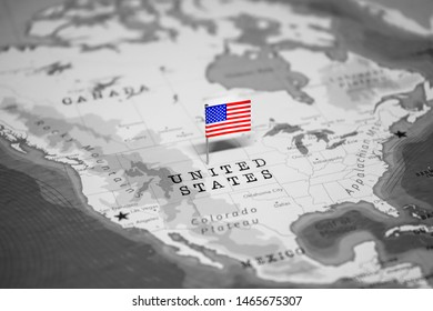 The Flag of US in the World Map