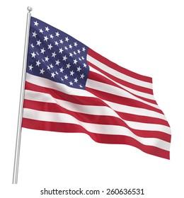 Flag USA. 3d illustration isolated on white background