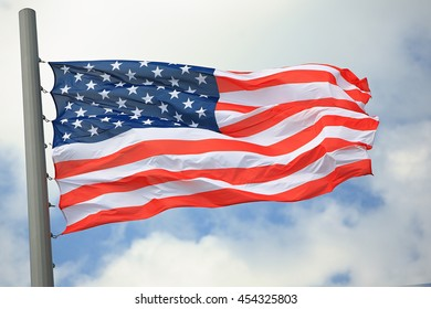 Flag of the USA against the sky
