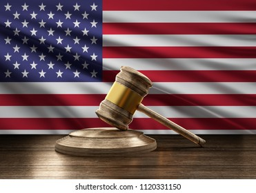 flag of USA America wooden judge gavel 3d-illustration