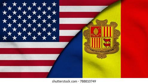 Flag of USA and Andorra
