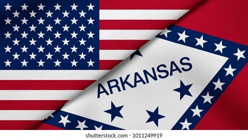 Flag of USA and Arkansas state (USA)