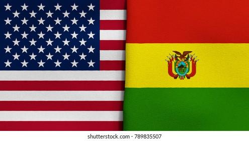 Flag of USA and Bolivia