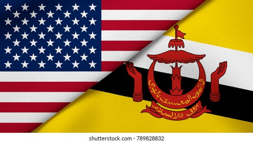 Flag of USA and Brunei