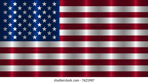 Flag of USA in brushed metal