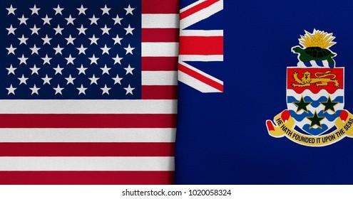 Flag of USA and Cayman Islands