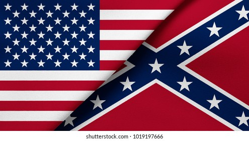 Flag of USA and Confederate