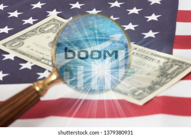 Flag of USA, dollar bill and a magnifying glass with the word Boom